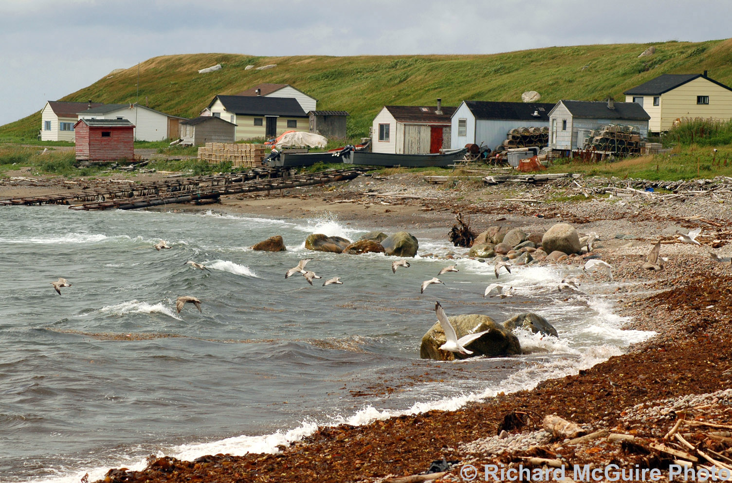 Fishing cabins, near Green Point, Gros Morne National Park, Newfoundland