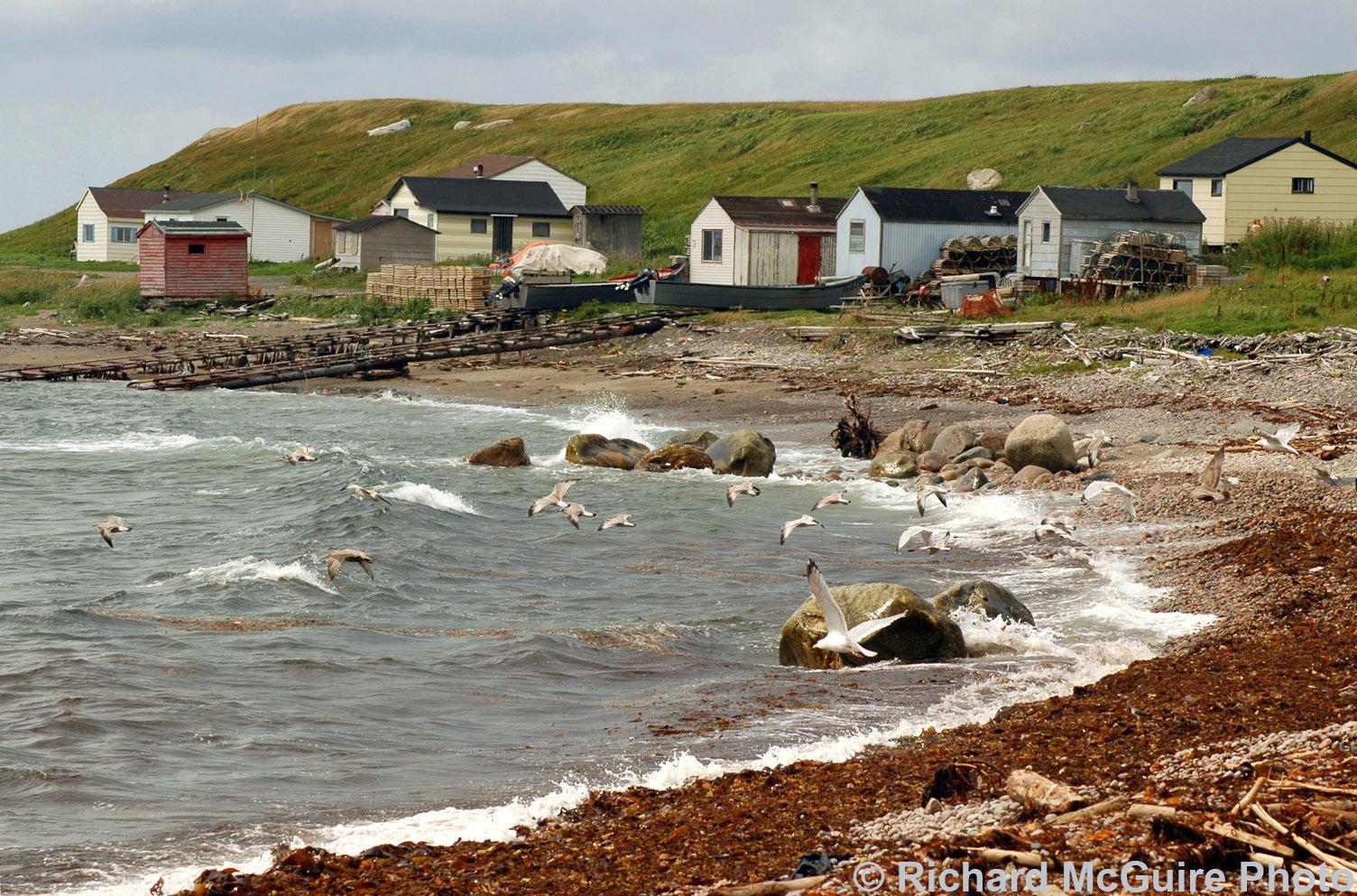 Fishing cabins, near Green Point, Gros Morne National Park, Newfoundland