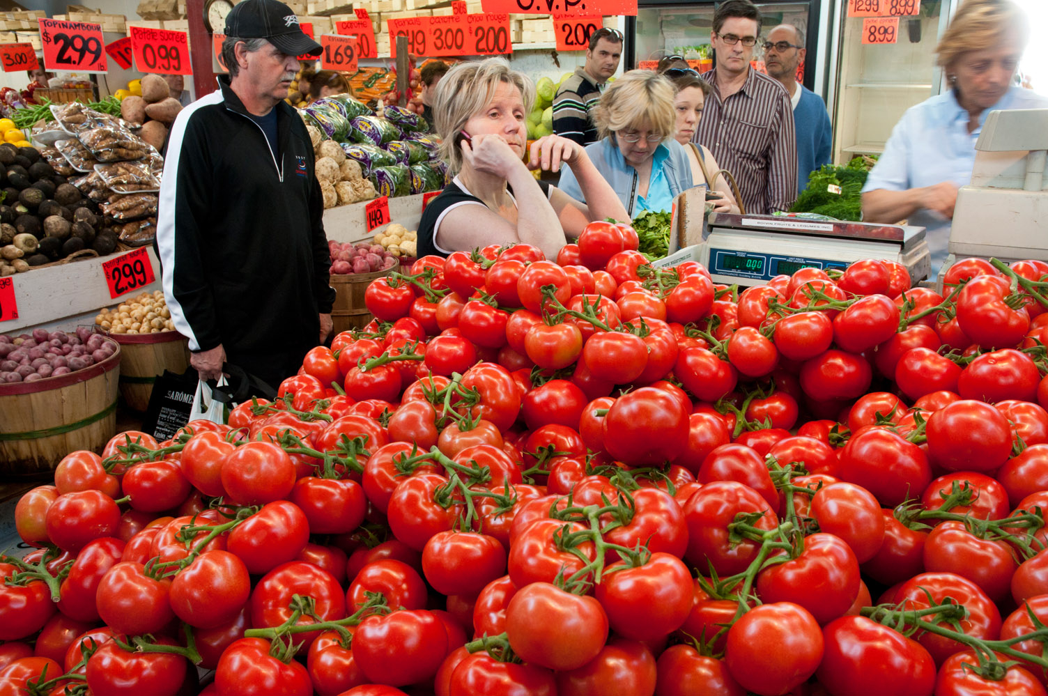 Buying tomatoes, Jean Talon Market, Montreal