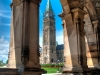 Peace Tower through the arches at East Block, Parliament Buildings, Ottawa