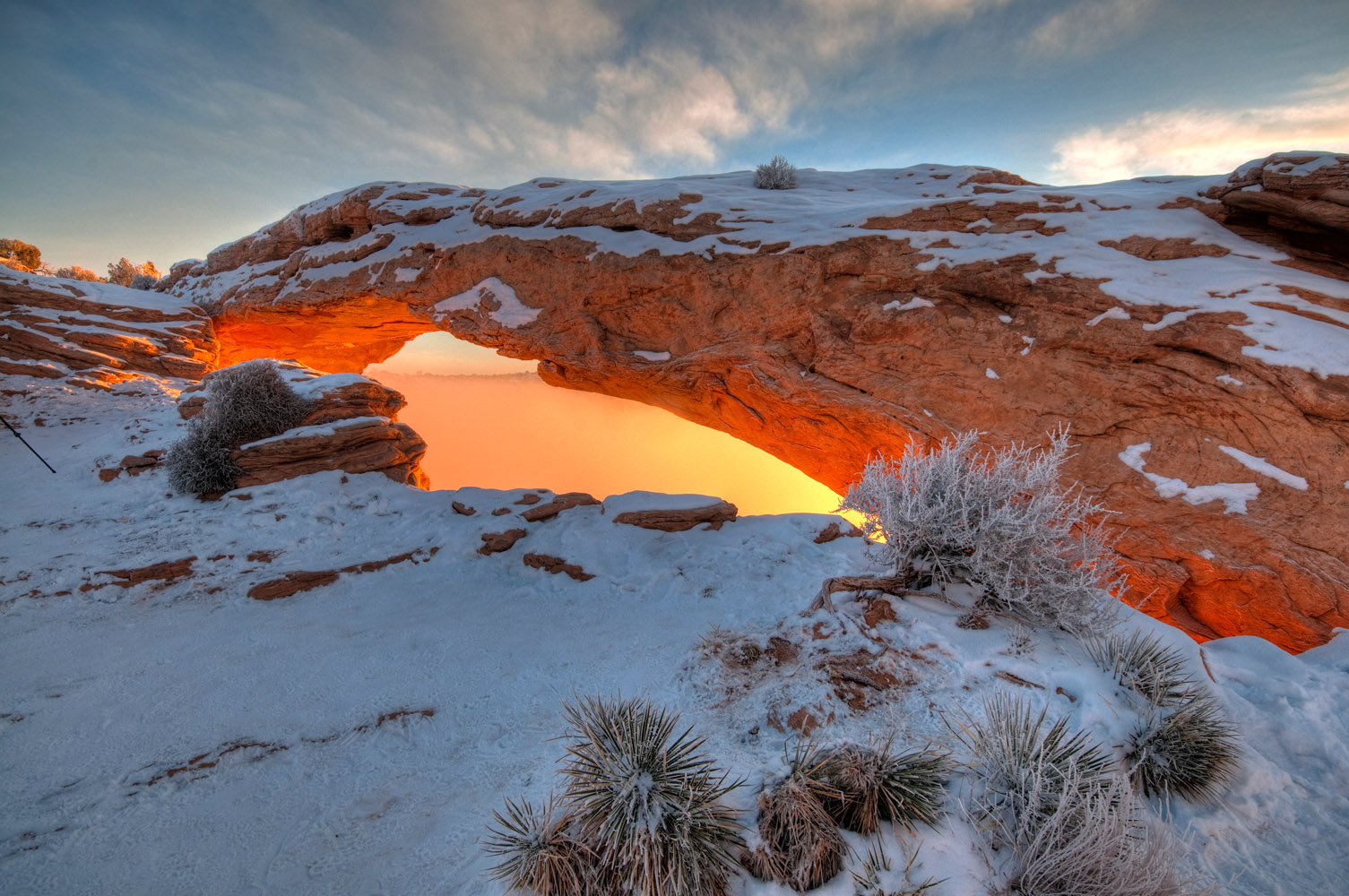 Mesa Arch, sunrise in the fog, Canyonlands National Park, Utah