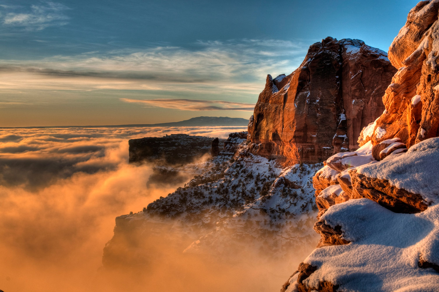 Sunrise over the fog, near Mesa Arch, Canyonlands National Park, Utah